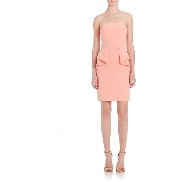 Aidan Mattox Bridesmaids Strapless Peplum Dress ($205) ❤ liked on Polyvore featuring dresses, apparel & accessories, strapless dress, cocktail bridesmaid dresses, peplum bridesmaid dresses, bridesmaid dresses and strapless cocktail dress