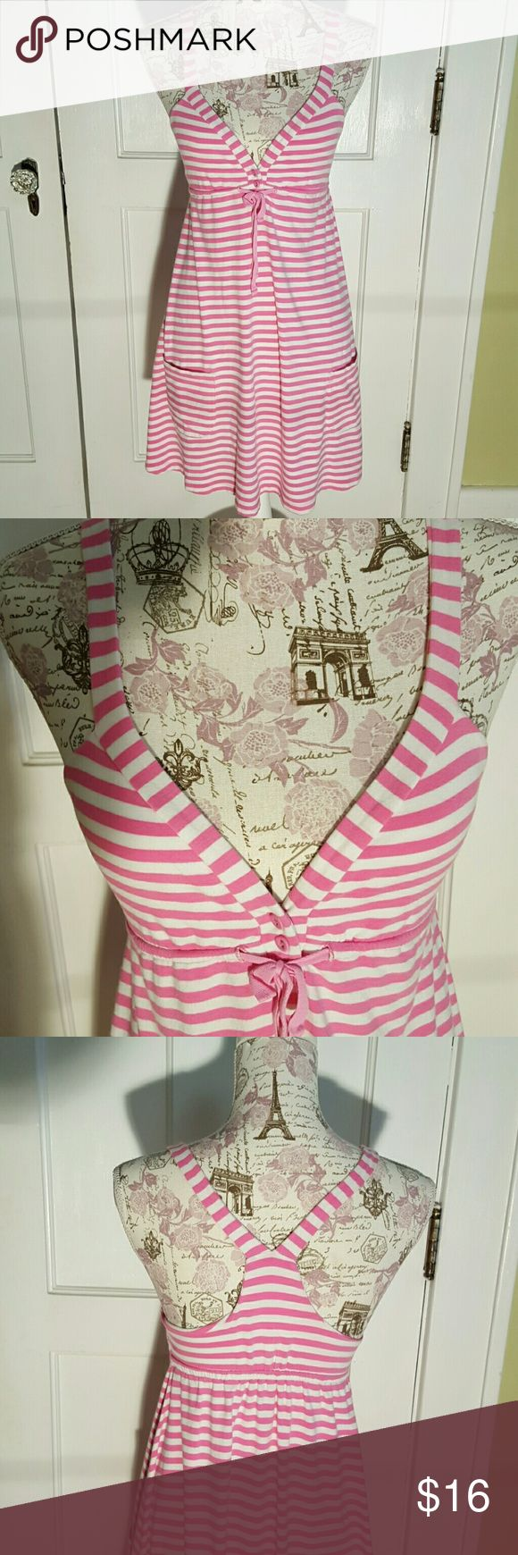 "Pink by Victoria's Secret Sun Dress Pink & white Horizontal Striped Racer Back 3 Small Buttons & Tie in Front 2 Front Lower Pockets 32"" Length PINK Victoria's Secret Dresses"
