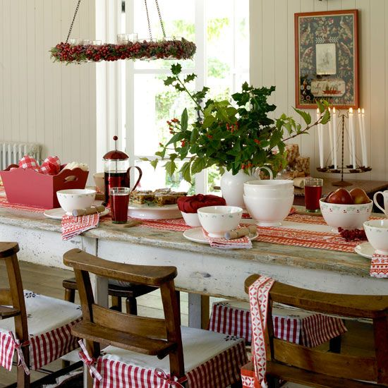 Scandinavian country Christmas table.