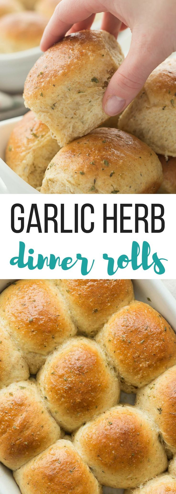 Homemade dinner rolls that are easier than you think, with a step by step recipe video and tons of garlic herb flavor! Theyre perfectly soft and fluffy. | homemade bread | made from scratch | yeast bread | yeast buns | dinner buns | dinner rolls | holiday rolls