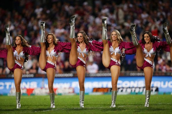 Sea Eagles cheerleaders perform during the round nine NRL match between the Manly Warringah Sea Eagles and the Sydney Roosters at Brookvale Oval on May 13, 2013 in Sydney, Australia.