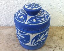 ViNTAGE ART POTTERY – Pablo Zabal Collectible Blue and White Matte Glazed Lidded Jar – Covered Jar Hand Made in Chile by Chilean Folk Artist
