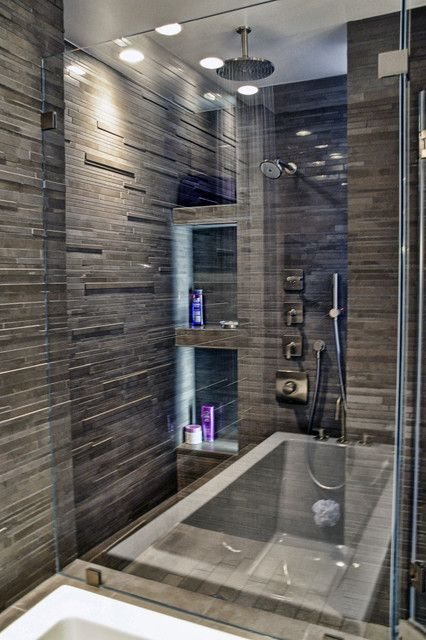master bathroom - contemporary - bathroom - new york - by Leib Designs Nice - texturized wall treatment....