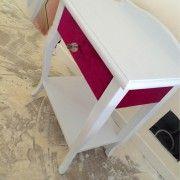 Mesita de mesita de noche con cajon vintage tejido de terciopelo ingles - Beldecor Interiorismo y Galeria