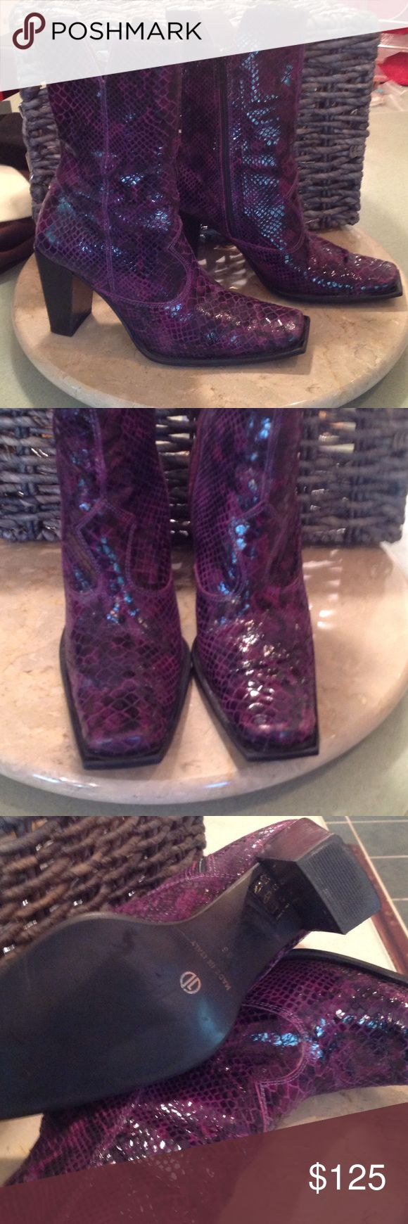 Vintage Snake skin boots These were from Las Vegas in the late 80s. They are in perfect shape. No scuffs on boots or heels. Very little wear on bottoms. They are purple and black. These are fab!! These are sexy meets western! ❤️️👢❤️️ Bee Fly   Paris Shoes Heeled Boots