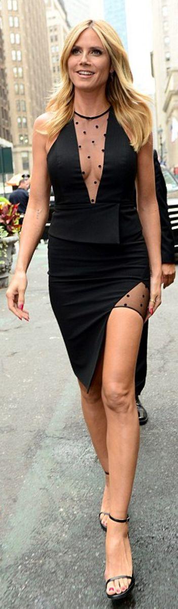 Who made  Heidi Klum's black sandals, black polka dot skirt, and mesh insert peplum top?