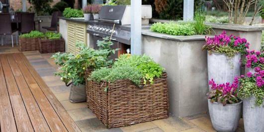 HELSEBRINGENDE: Å ha salater og krydderplanter lett tilgjengelig ved siden av grillen innbyr til en sunn livsstil på terrassen.