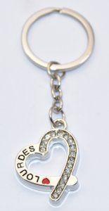 Silver Heart Lourdes Key Ring.