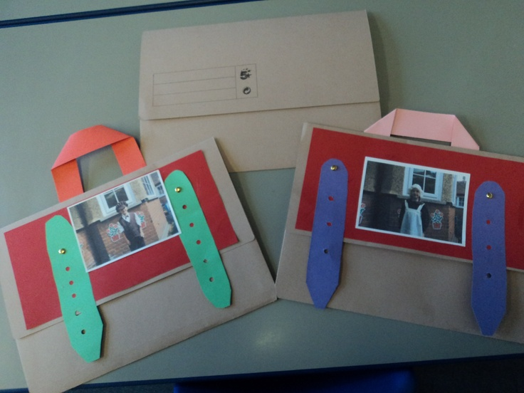 Turn a card document folder into a satchel as a handy topic work folder! Great for a Victorian school children topic!
