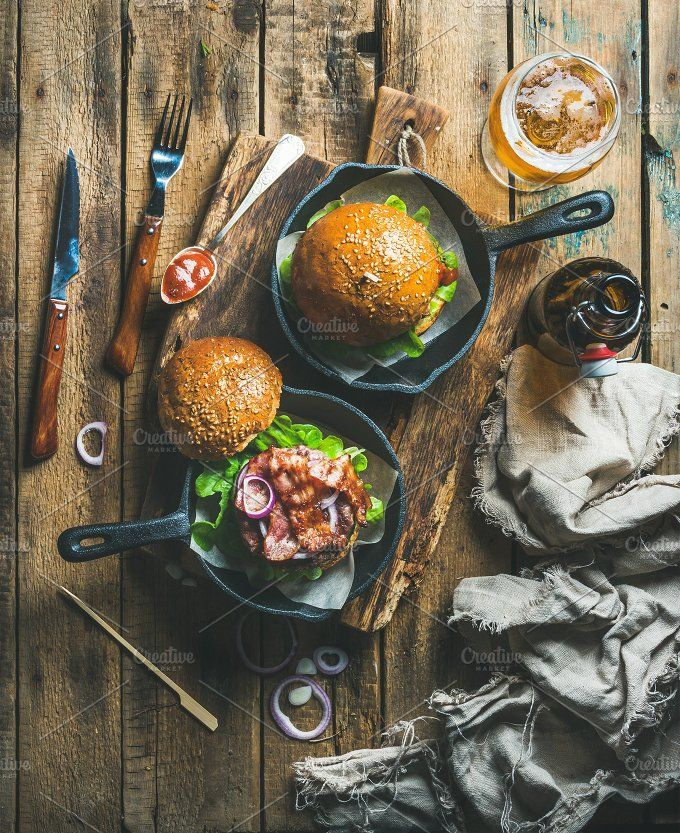 Beef burgers in cast iron pans by Foxys on @creativemarket