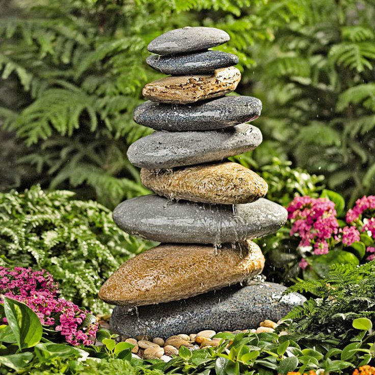 Riverstone Fountain   Resembling A Carefully Balanced Stack Of  River Smoothed Stones, This Fountain Creates A Soothing Cascade Of Water In  Your Garden.