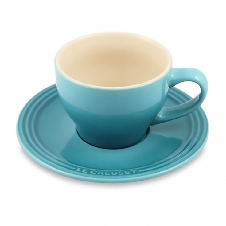 Le Creuset Stoneware Cappuccino Cups, Set of 2 - Caribbean | Durable enough for everyday use, but elegant enough for entertaining! Set includes 2 cappuccino cups and two saucers. #lecreuset #cappuccino #cups