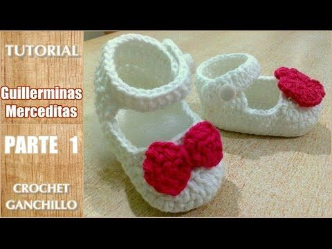 DIY Como tejer escarpines, merceditas, guillerminas a crochet, ganchillo (parte 1/2). Link download: http://www.getlinkyoutube.com/watch?v=Y9Phd22ylEo