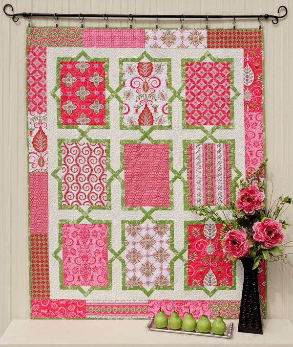 lovely large rectangle blocks connected by X's. In pink/white/green. Great for big prints you might want to show off.