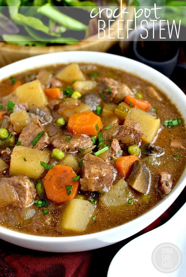 Crock Pot Beef Stew is easy, hearty, and comforting. Toss everything into the crock pot at night then pop into the base and cook the next day! #glutenfree | iowagirleats.com