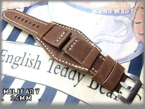 Heavy Military Watch Strap 24mm Bund Matte Antique Brown Hand Made