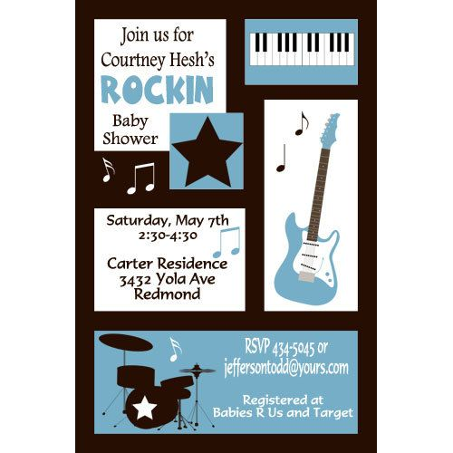 Musical Baby Shower Party Invitations Digital File Blue Pink and Green with Black 5 Choices on Etsy, $12.00