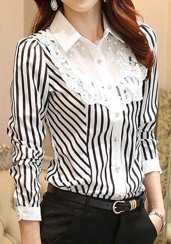 b9f8a24163fc99 White-Black Striped Lace Single Breasted Elegant Office Worker/Daily Blouse