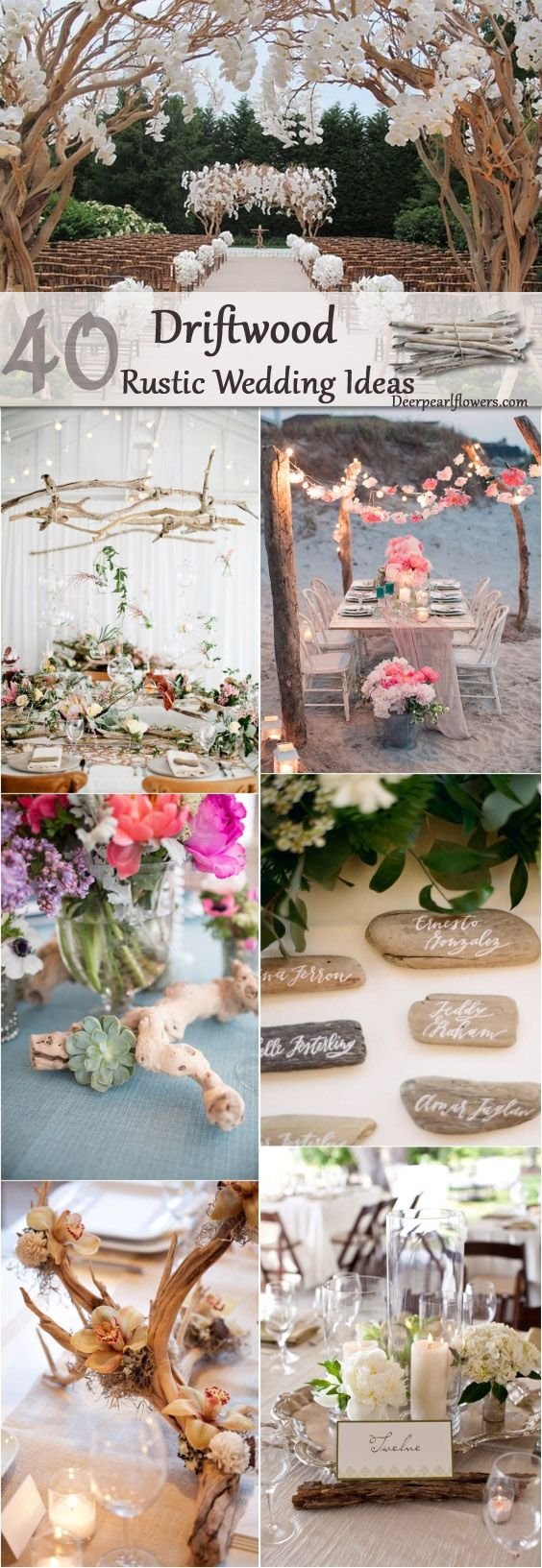 rustic driftwood wedding idea / http://www.deerpearlflowers.com/driftwood-wedding-decor-ideas/