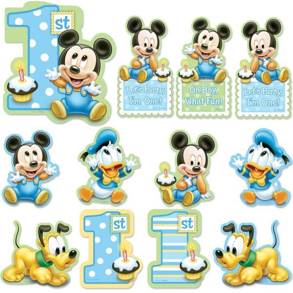 Mickey Mouse 1st Birthday Cutouts 12pc