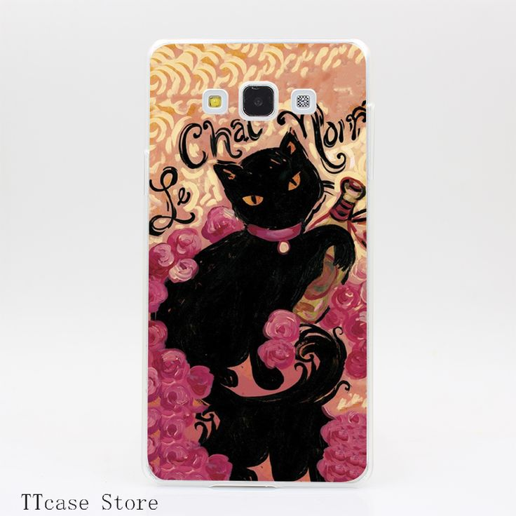 2006CA Le Chat Noir Transparent Hard Cover Case for Galaxy A3 A5 A7 A8 Note 2 3 4 5 J5 J7 Grand 2 & Prime //Price: $US $1.61 & FREE Shipping //     #apple