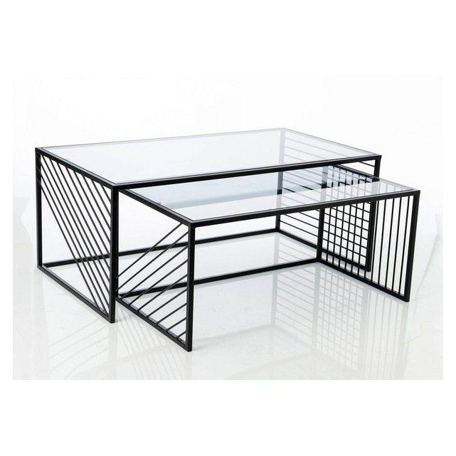 Ensemble Ou Separee L Une De L Autre Ces Tables Basses Moderne En Metal Imprime Un Style Geometrique Unique Dans Votr Table Basse Moderne Table Basse Gigogne