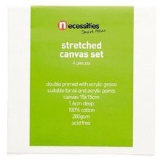 Necessities Brand Stretched Blank Canvas 15cm x 15cm 4 Pieces