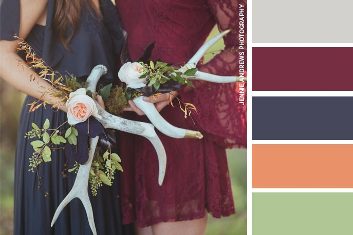 Wedding Color Palette with navy blue burgandy and peach. This color palette has images by Jennie Andrews Photography | The Pink Bride thepinkbride.com