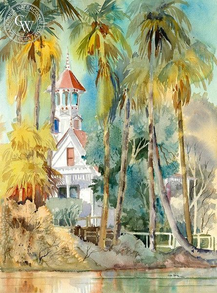 Queen Anne's Cottage, Arcadia, California art by Ed Kelly. HD giclee art prints for sale at CaliforniaWatercolor.com - original California paintings, & premium giclee prints for sale