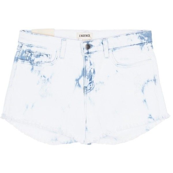 L'Agence 'Zoe' bleach splatter distressed denim shorts ($185) ❤ liked on Polyvore featuring shorts, white, distressed denim shorts, white shorts, denim short shorts, white denim shorts and denim shorts