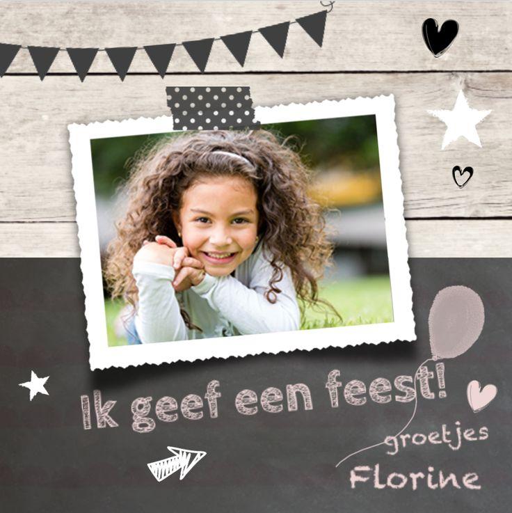 lovz.nl Hippe uitnodiging - meisje - verjaardagsfeestje - uitnodigingen voor je kinderfeest - zelf maken