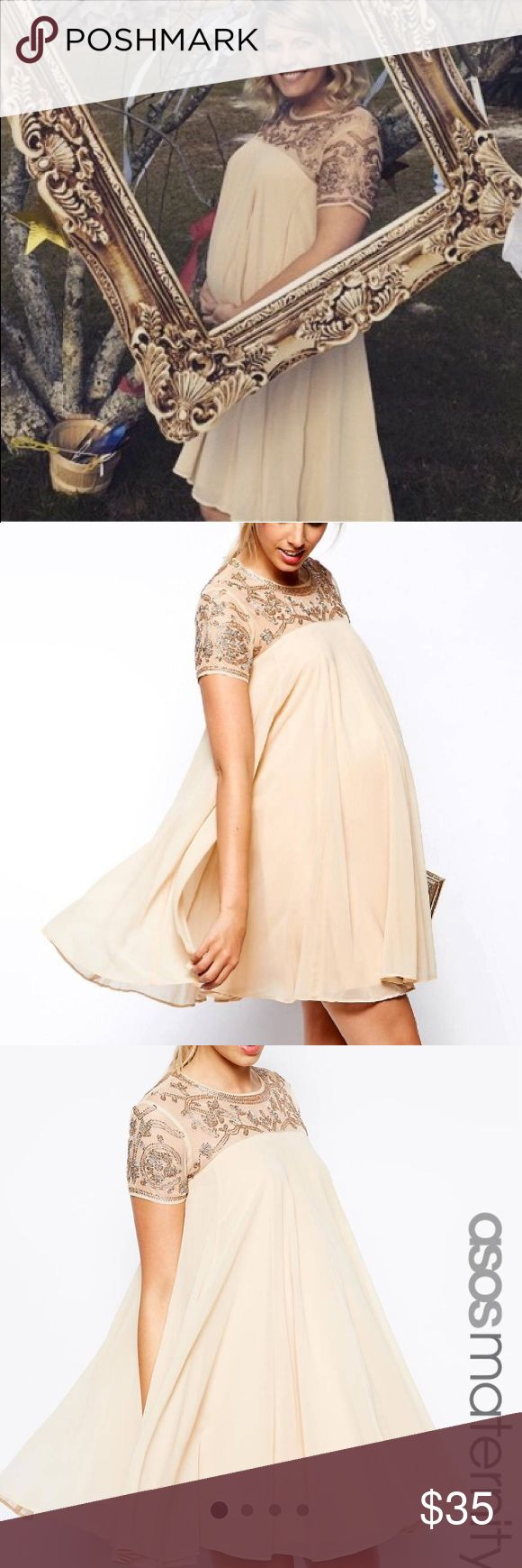 ASOS Nude maternity swing dress Nude swing dress with built in lining and baroque embellishment along the top and sleeves. Maternity dress that can easily be worn at different stages of pregnancy and even after. Not available online anymore. ASOS Dresses
