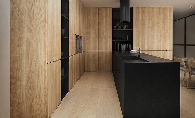 Black matt laminate / finish in all cupboards