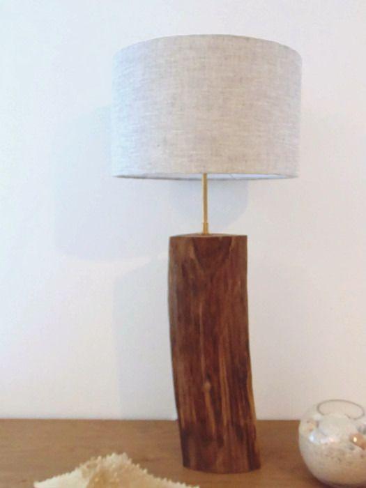 lampe en bois flotté - abat-jour cylindre Lin 30cm -  modèle unique