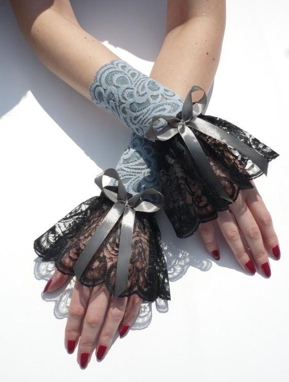 Renaissance Diva Lace Gloves Wedding Gothic by estylissimo on Etsy, $21.00