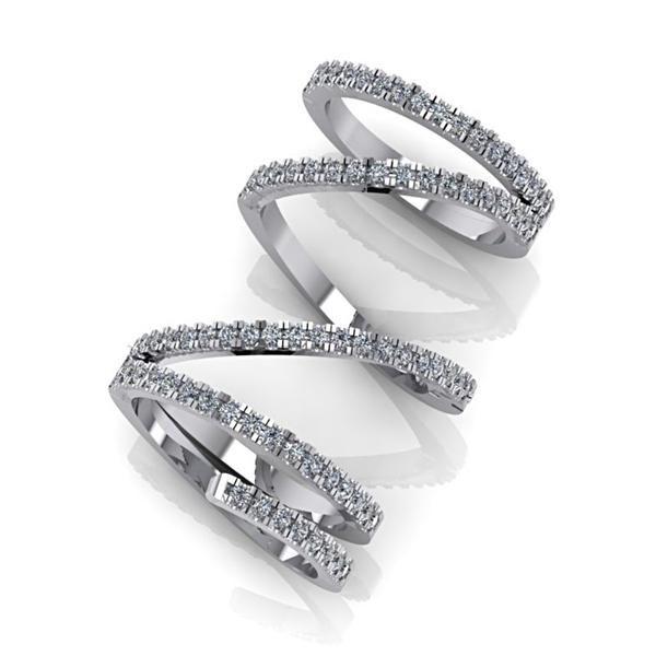 Diamond Spiral Design Ring 14K White Gold