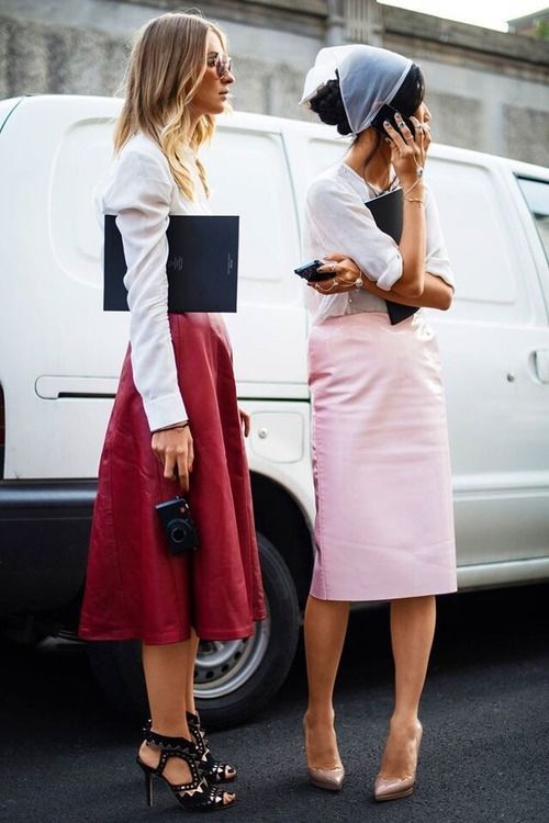 Pink skirt is the right length for a pencil skirt! Ignore the red skirt.