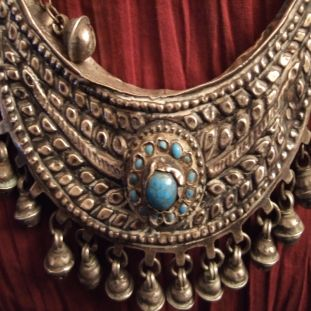 Silver, glaspasta, turquoises, Turkey Description This splendid antique necklace from Kurdistan is remarkably assembled and attests art of the goldsmiths in this part of the world