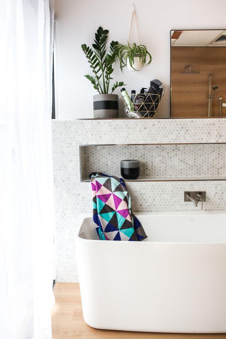 Boho Bathroom Styling! Featuring the Caroma Urbane Bath and Caroma titan stainless steel bath mixer.