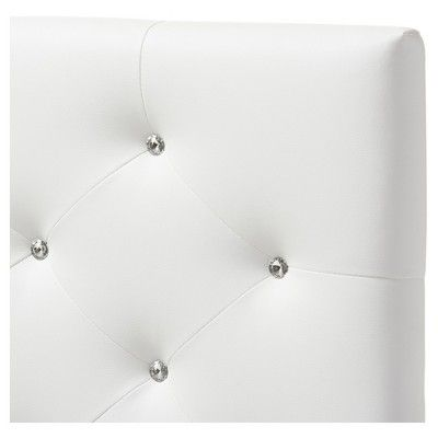 Viviana Modern And Contemporary Faux Leather Upholstered Button - Tufted Headboard - Twin - White - Baxton Studio