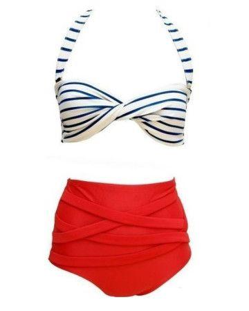 navy-blue-red-chic-swimsuit-green-white-bikini-μπικίνι
