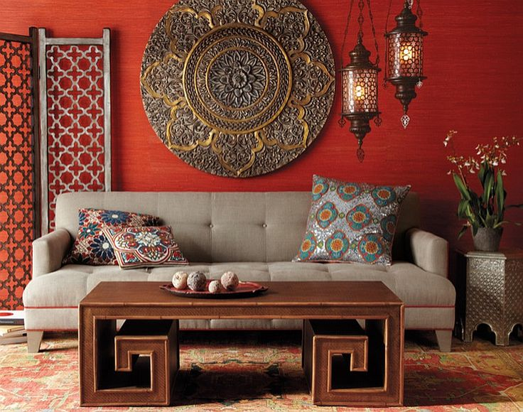 Bamboo Coffee Table And Ornate Details Shape This Chic Living Room In Bold  Colors. Moroccan DecorMoroccan ... Part 87