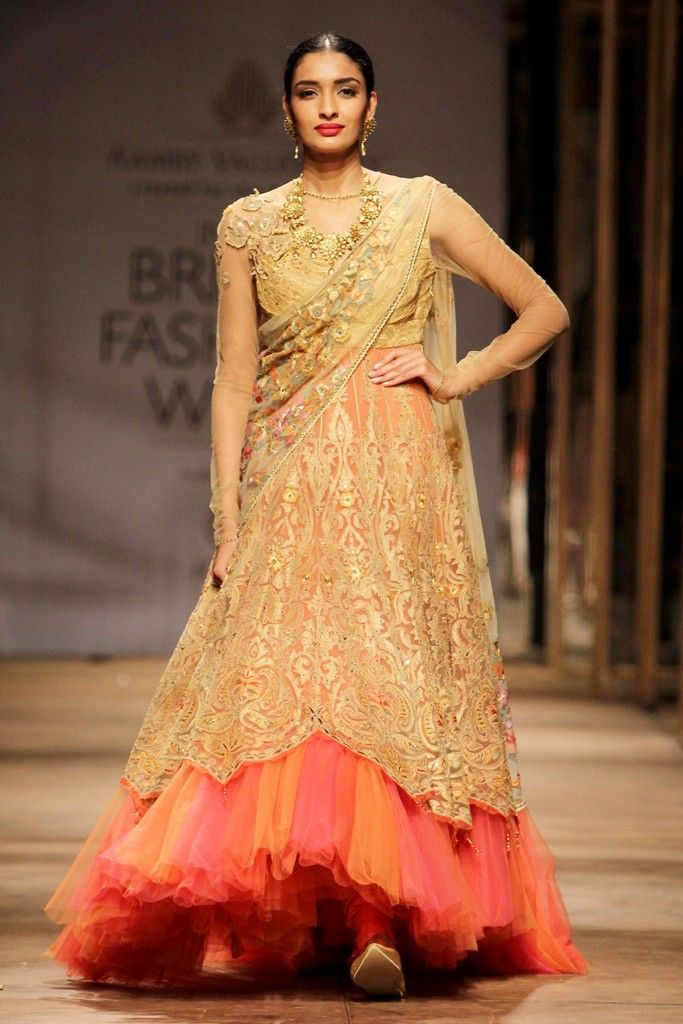 A look by Tarun Tahiliani for Azva at India Bridal Fashion Week. #saree #sari #blouse #indian #outfit  #shaadi #bridal #fashion #style #desi #designer #wedding #gorgeous #beautiful