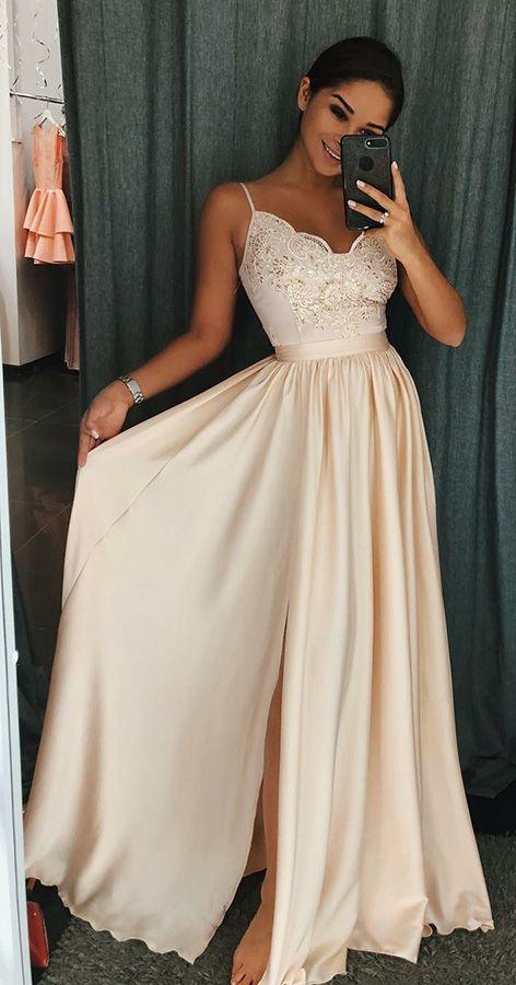 f05b8265a2a11 elegant ivory satin prom dress with appliques, fashion spaghetti strap evening  dress with split