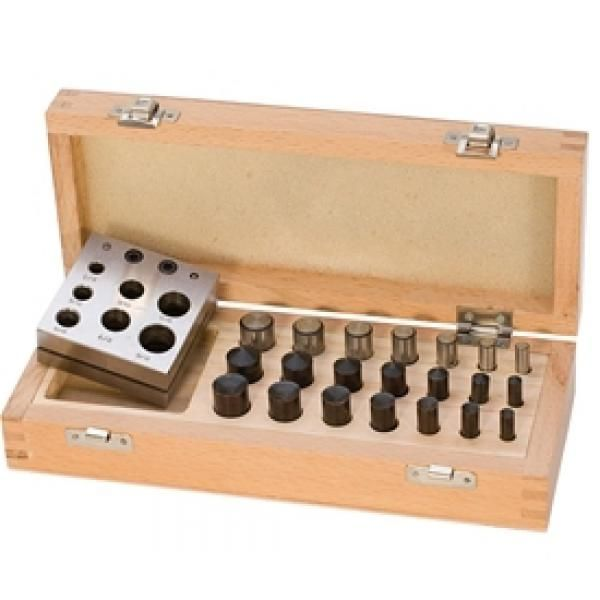 Deluxe Disc and Doming Set This set not only cuts flat discs, but also forms and cuts cone or domed shaped discs. It comes with a small disc cutter and 21 punches (7 flat, 7 concave, and 7 convex) all nicely packaged in a wooden storage box. Domed discs are formed by using the convex and concave punches with the disc cutter, which cuts seven sizes: click for more details