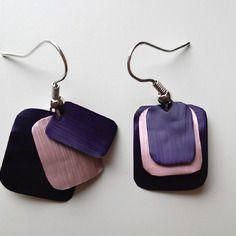 Boucles d'oreille en capsule de café nespresso violette et vieux rose