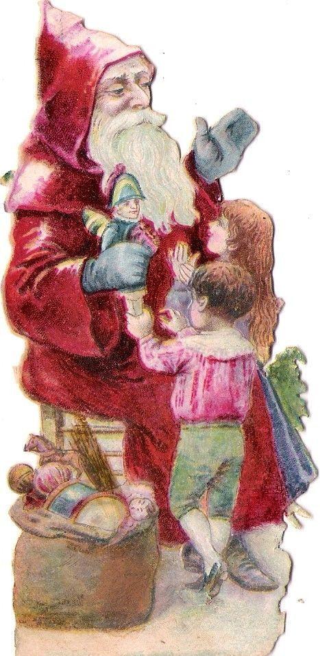 Oblaten Glanzbild scrap die cut chromo Nikolaus father XMAS pere noel Puppe doll: