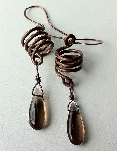 Copper springs with smokey quartz