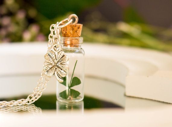 WISH Necklace Real Four Leaf Clover, Jewelry Woman Lucky Charm, Bronze Necklace Blown Pendant, Birthday Gift, Mother's Day