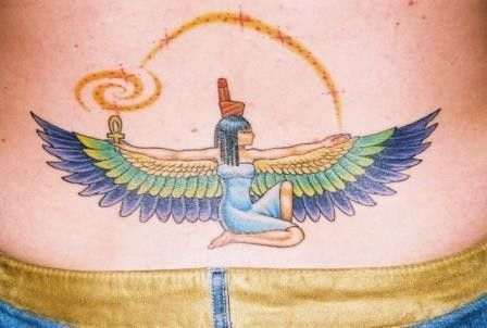 egyptian-tattoo-design-on-back ~ http://heledis.com/the-touch-on-ancient-motifs-egyptian-tattoo-design/